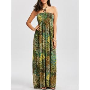 Halter Printed Shirred Dress with Accessory Design - Colormix - M