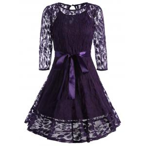 Lace Skater Homecoming Dress with Sleeves