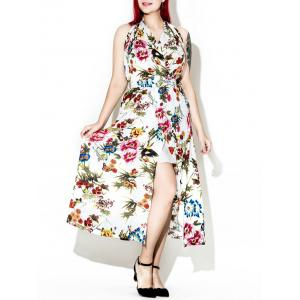 Plus Size Halter Neck Floral Backless Prom Maxi Dress