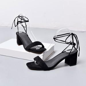 Tie Up Mid Heel Sandals - BLACK 38