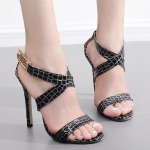 Cross Strap Plaid Pattern Sandals - Black - 38