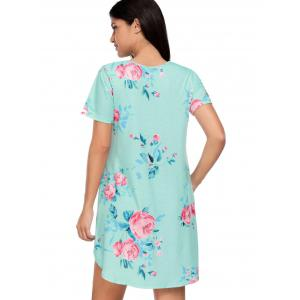 Floral Pockets T-Shirt Shift Beach Dress - BLUE S