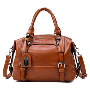 Buckle Straps Faux Leather Handbag - Brown - 37