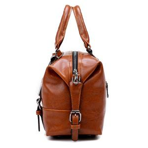 Buckle Straps Faux Leather Handbag - BROWN