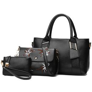 3 Pieces Faux Leather Handbag Set - Black