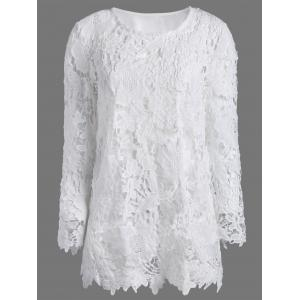 Lace Crochet Tee with Cami Top - White - Xl