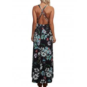 Floral Backless Chiffon Maxi Slip Dress - BLACK M