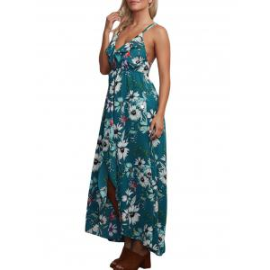Floral Backless Chiffon Maxi Split Slip Beach Dress - Vert S