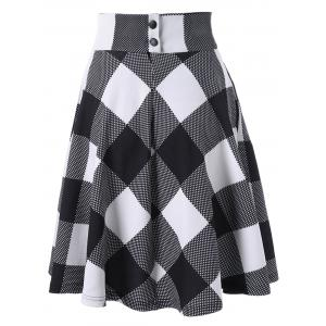 Checked High Waisted Skirt - WHITE AND BLACK 2XL