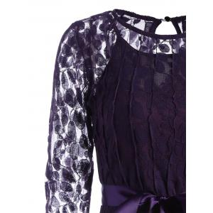 Lace Mini Skater Homecoming Dress with Sleeves - PURPLE 2XL