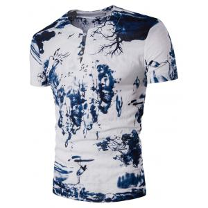 Cotton Linen Pan Kou Design Wash Painting Print T-Shirt