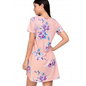 Floral Pockets T-Shirt Shift Beach Dress - PEACH XL