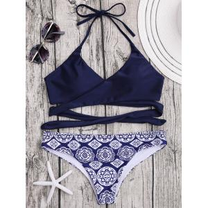 Printed Halter Wrap Bikini Set - Purplish Blue - S
