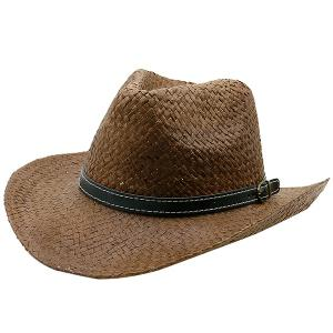 Woven Straw Hat with Detachable Faux Leather Belt - Coffee - One Size