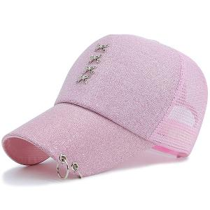 Mesh Splicing Metallic Cross Circles Baseball Hat
