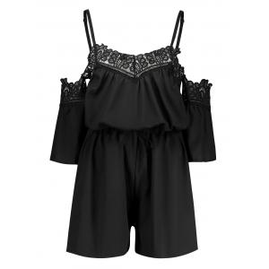 Cold Shoulder Lace Insert Romper - Black - S