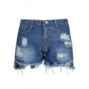 Ripped High Waisted Denim Shorts - Blue - 2xl