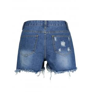 Ripped High Waisted Denim Shorts - BLUE 2XL