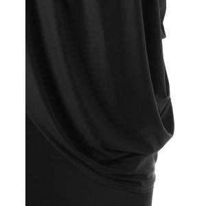 One Strap Skew Collar Slimming Drape Dress - BLACK 2XL