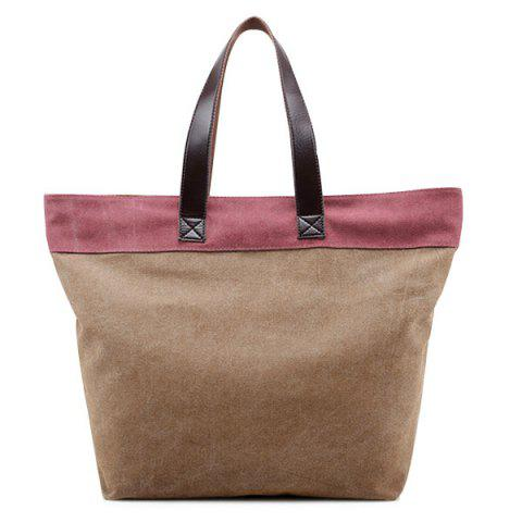 Fashion Color Block Canvas Shoulder Bag - COFFEE  Mobile