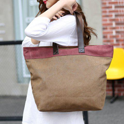 Outfit Color Block Canvas Shoulder Bag - COFFEE  Mobile