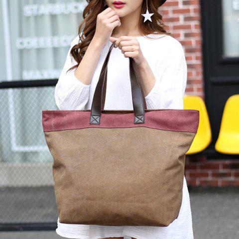 Cheap Color Block Canvas Shoulder Bag - COFFEE  Mobile