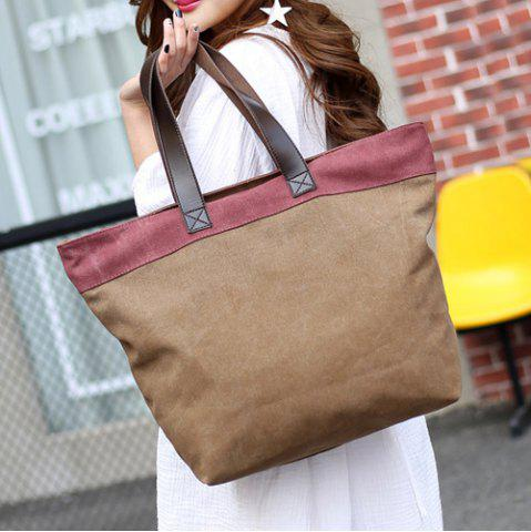 Chic Color Block Canvas Shoulder Bag - COFFEE  Mobile