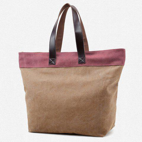 Discount Color Block Canvas Shoulder Bag - COFFEE  Mobile