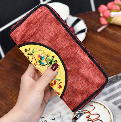 Chic Ethnic Embroidered Zip Around Wallet - RED  Mobile