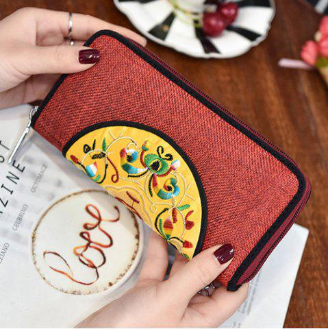 Latest Ethnic Embroidered Zip Around Wallet - RED  Mobile