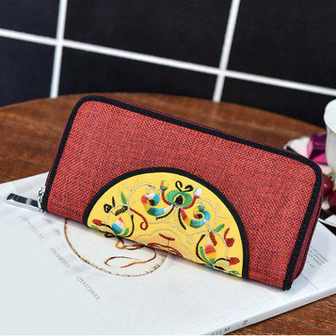 Affordable Ethnic Embroidered Zip Around Wallet - RED  Mobile