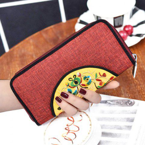 Outfit Ethnic Embroidered Zip Around Wallet - RED  Mobile