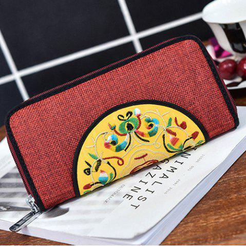 Unique Ethnic Embroidered Zip Around Wallet - RED  Mobile