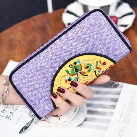 Chic Ethnic Embroidered Zip Around Wallet - PURPLE  Mobile