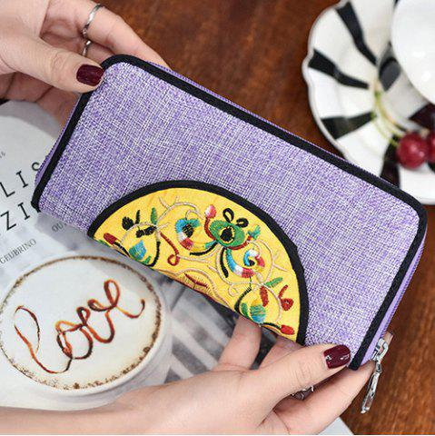 Affordable Ethnic Embroidered Zip Around Wallet - PURPLE  Mobile