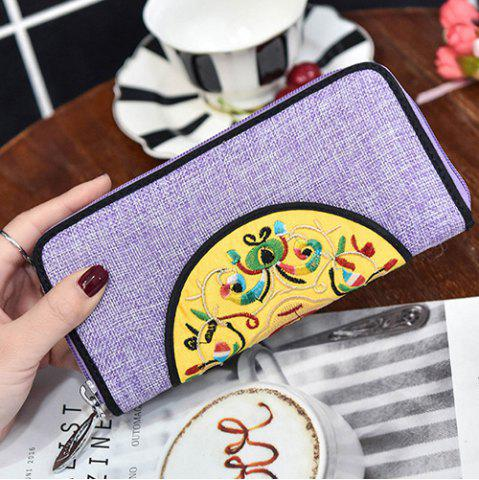 Latest Ethnic Embroidered Zip Around Wallet - PURPLE  Mobile
