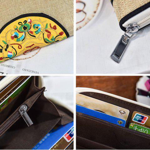 Latest Ethnic Embroidered Zip Around Wallet - KHAKI  Mobile
