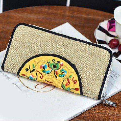 Sale Ethnic Embroidered Zip Around Wallet - KHAKI  Mobile
