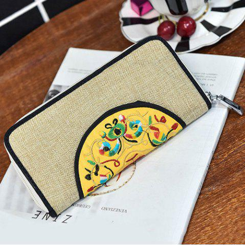 Cheap Ethnic Embroidered Zip Around Wallet - KHAKI  Mobile