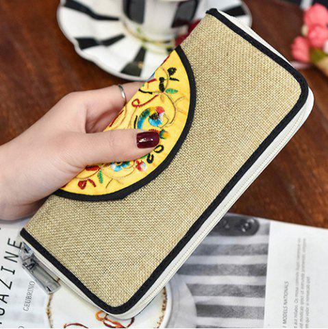 Affordable Ethnic Embroidered Zip Around Wallet - KHAKI  Mobile