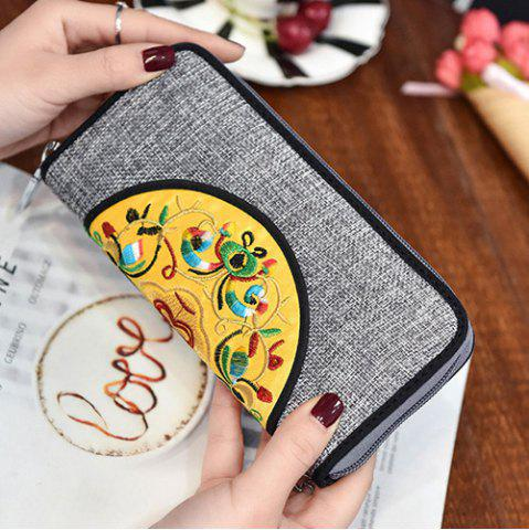 Best Ethnic Embroidered Zip Around Wallet - GRAY  Mobile
