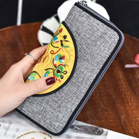 Unique Ethnic Embroidered Zip Around Wallet - GRAY  Mobile