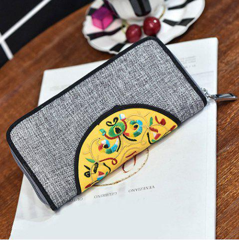 Sale Ethnic Embroidered Zip Around Wallet - GRAY  Mobile