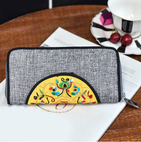Cheap Ethnic Embroidered Zip Around Wallet - GRAY  Mobile