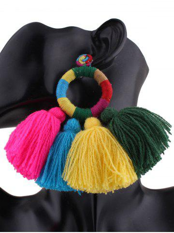 Chic Circle Tassels Ethnic Drop Earrings MULTICOLOR