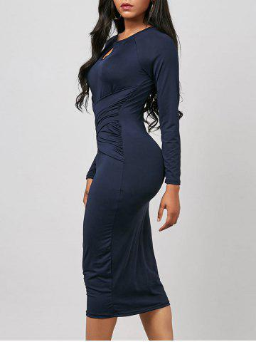 Unique Keyhole Midi Ruched Long Sleeve Bodycon Dress - M PURPLISH BLUE Mobile