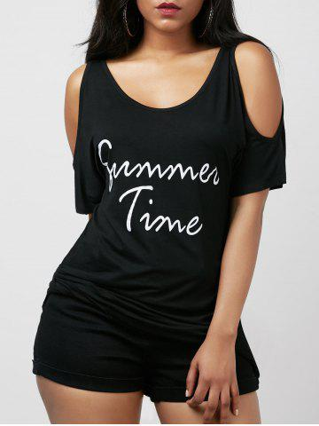 Store Cold Shoulder Graphic Print Tunic Tee - L BLACK Mobile