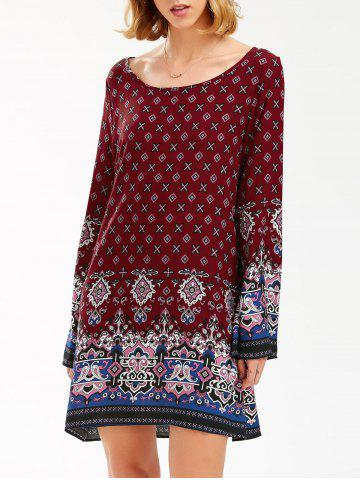 Hot Boho Print Flared Long Sleeve Shift Tunic Dress