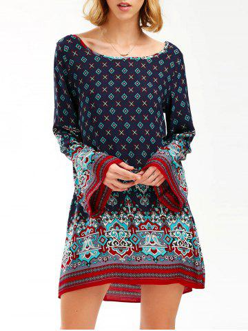Boho Flare Sleeve Tunic Print Dress - Purplish Blue - L