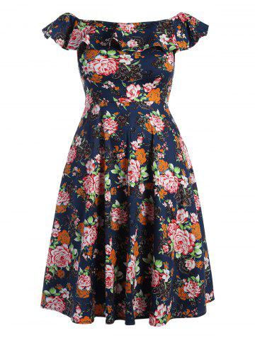 Plus Size Flounce Off The Shoulder Midi Floral Flare Dress - Purplish Blue - 2xl